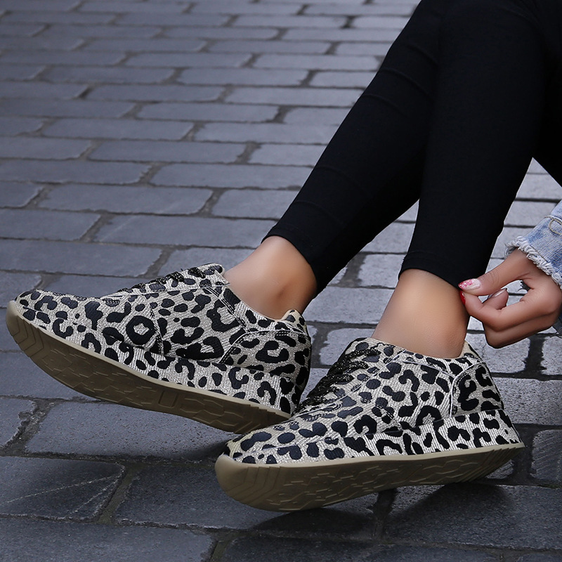 Krasovki Large Size 41 Leopard Print Personality FashionDropshipping Casual Sneakers Tide Girl Thick Bottom Increase March Shoes in Women 39 s Vulcanize Shoes from Shoes