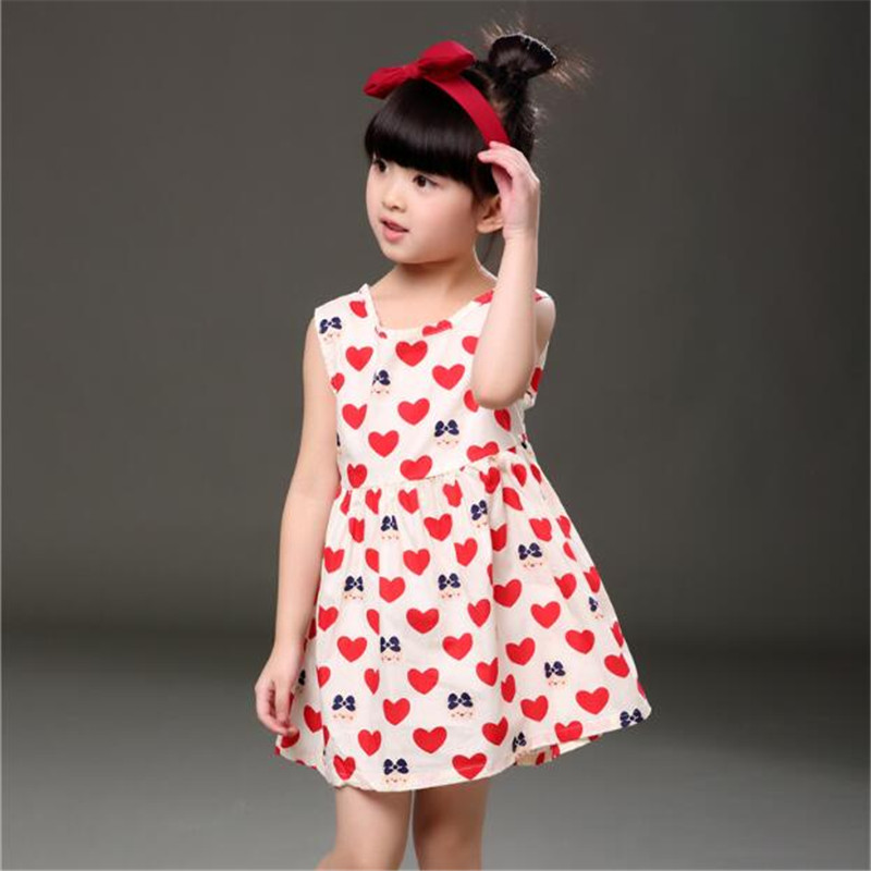 2017 Girls Clothes New Summer Style Girls Dress Girl Sleeveless Princess Heart Print Kids Dresses For Girls Baby