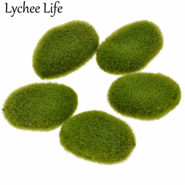 5pcs Mini Simulation Green Stone Decor Resin Zen Sand Table Models Modern Home Table Doll House Garden Decoration