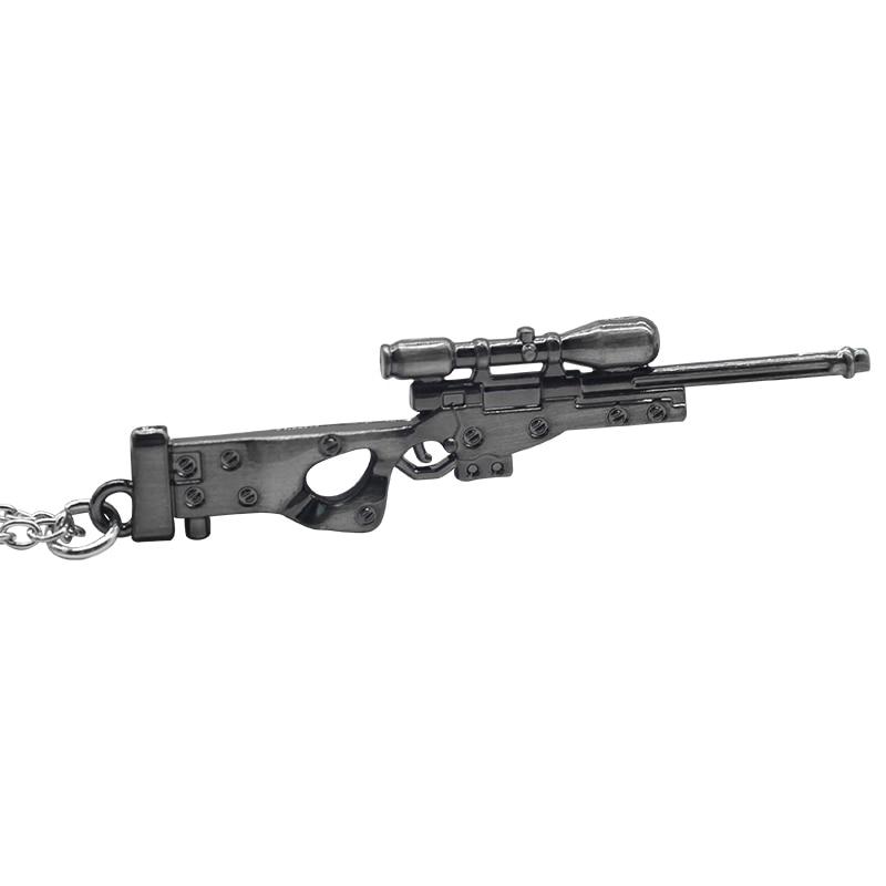 Hot Game Weapon Sniper Rifle Gun Necklaces Vintage Punk Arms Guns Mode Pendant 3D Imitation Gun Necklace Drop Shipping