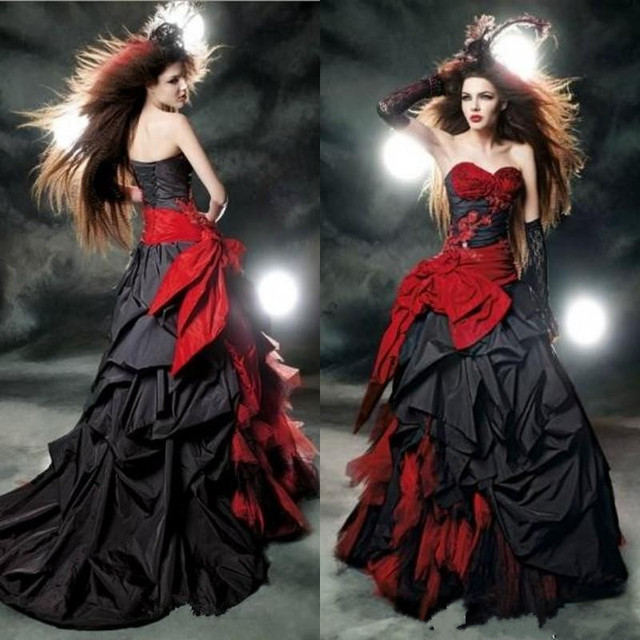 Red And Black Ball Gown Wedding Dresses 2017 Hot Sale