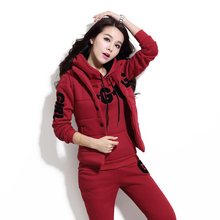 a set clothing winter suit women fleece three-piece thickening leisure big yards hoodies vest pants casual letter emboridery