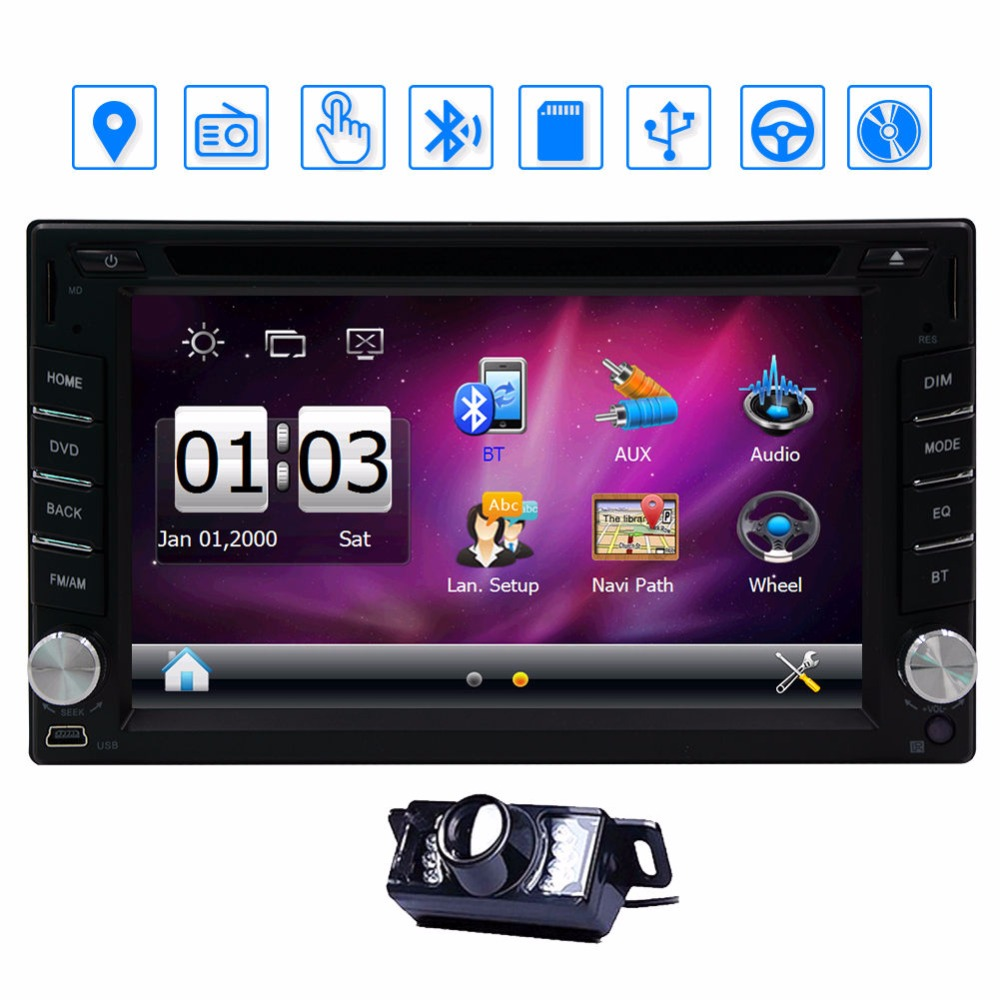 2 Din Car DVD Player GPS Navigation Car Stereo build-in Bluetooth Car Radio Audio Video Player Supports FM AM RDS 8GB GPS Card lsqstar 7 touch screen 2 din car dvd player w gps am fm rds 1gb ram 8gb flash for fiat bravo