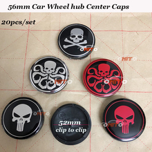 20pcs/set 56mm 2.20inch Car emblem badge wheel hub caps For hydra ghost punisher logo badge fit for skoda mazda fiat seat vw