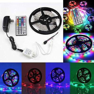 RGB LED Strip 5M 300Led 3528 SMD 44Key IR Remote Controller 12V 2A Power Adapter Flexible Light Led Tape Home Decoration Lamps
