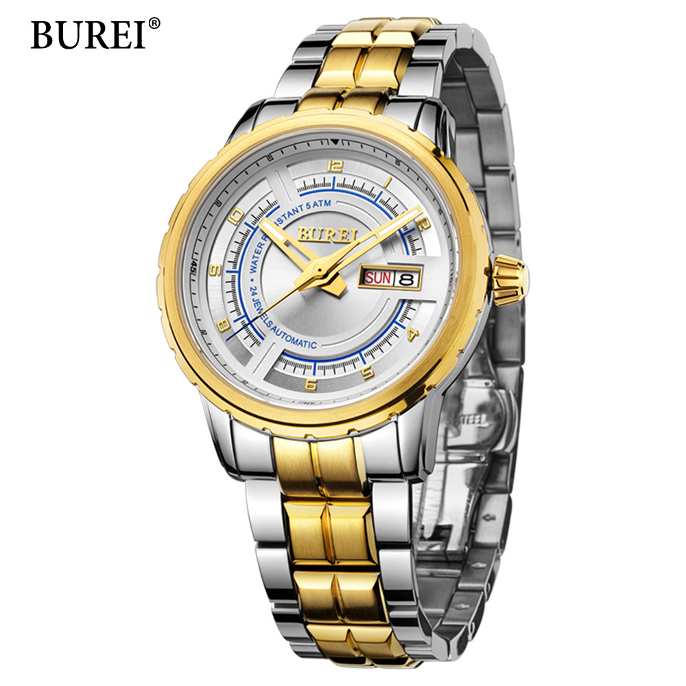 Man Automatic Mechanical Watches BUREI Fashion Brand Male Luxury Clock Calendar Sapphire Steel Band 50M Waterproof Watch Mens nakzen men s automatic waterproof 50m watch man steel business dress mechanical clock male luxury sapphire diamond fashion watch