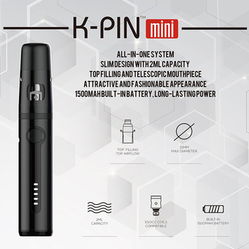 KangerTech – Mini réservoir de K-PIN mAh, authentique, Kit de démarrage tout-en-un avec tête de bobine SSOCC 1500 ohm-noir, 2ml, 0.5