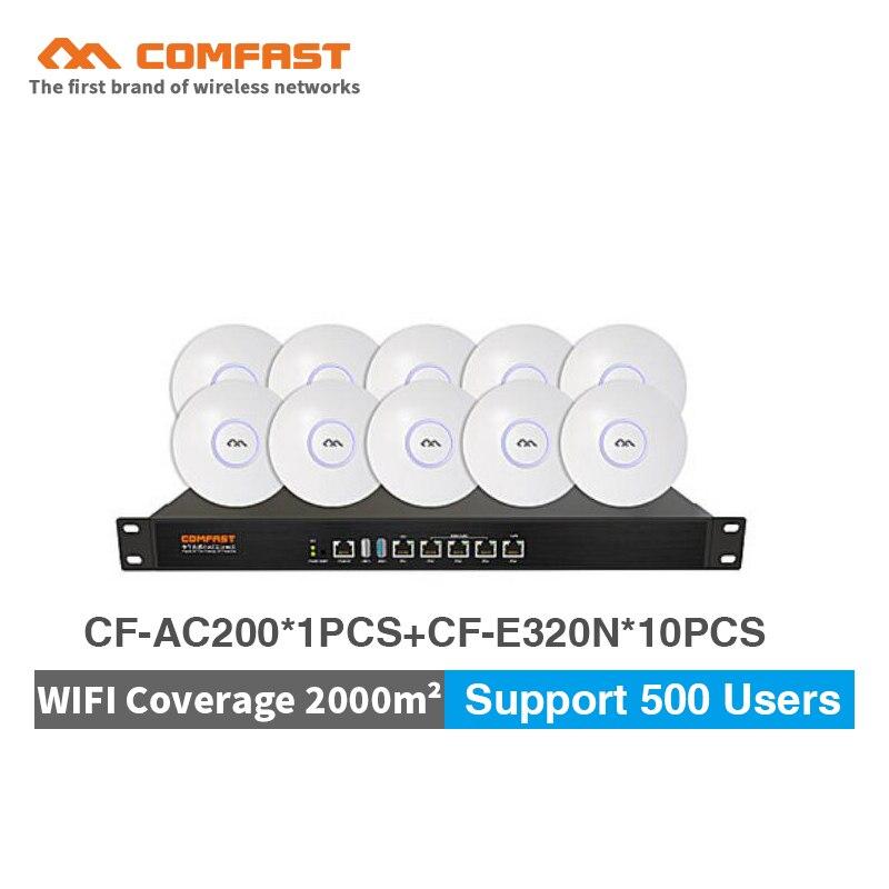 COMFAST 300 Мбит/с Беспроводной потолка AP 48 В POE Wi-Fi роутера + cf-ac200 Gigabit AC ворота способ контроллер для офиса /центр wi-fi покрытие