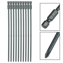 10pcs Magnetic Phillips Cross Screwdriver Bits 1/4inch Hex Shank S2 Driver Bits Steel PH1/PH2 Screwdriver Bits Set 200mm Tool(China)