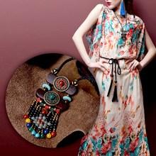2018 Fashion Color Stone Black Beads Coco Nut Slice Pendants Vintage Maxi Long Rope Chain Boho Jewelry Ethnic Bohemian Necklace