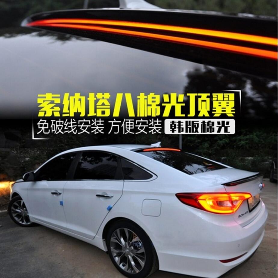 Pour Hyundai Sonata Voiture Décoration 2011 2012 2013 2014 2015 2016 2017 ABS En Plastique Peinture Peinture Couleur Coffre Arrière LED Spoiler