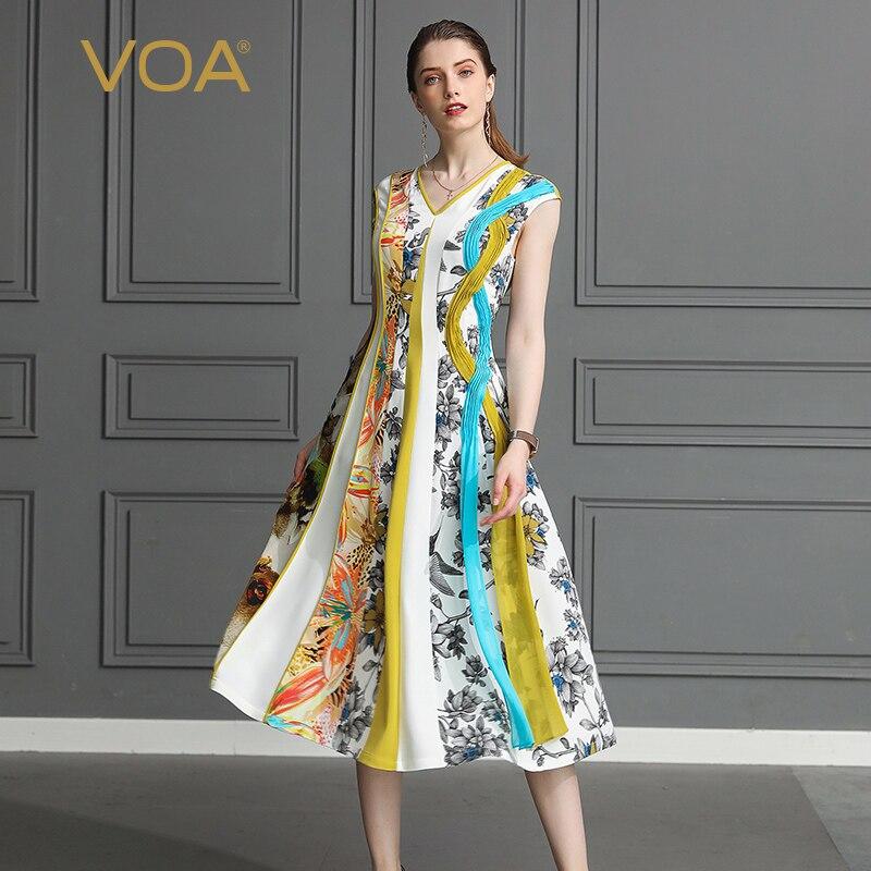 VOA pesado de seda vestido de fiesta durante mucho tiempo, las mujeres vestidos Harajuku dulce impresión Boho Casual más tamaño 5XL V cuello Vintage verano A581