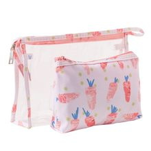 2019 New 2Pcs Women PVC Transparent Cosmetic Makeup Bag Toiletry Zipper Pouch Storage