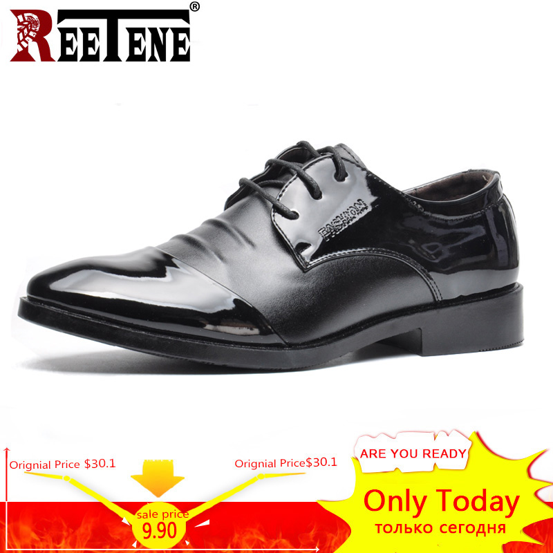 REETENE Fashion Leather Men Oxford Shoes Lace Up Casual Business Men Shoes Pointed Toe Shoes Flats Dress Shoes For Men Size 48 men s brogue shoes fashion brown pointed toe leather shoes breathable lace up men casual shoes moccasins size 38 43 8205m