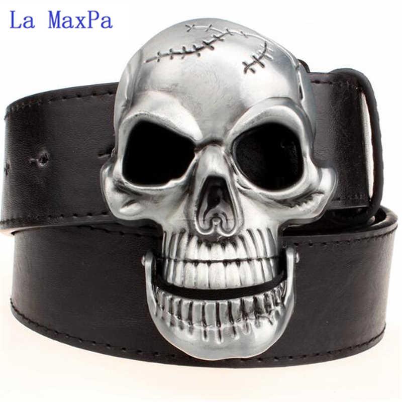 Moda Abartı erkek kemeri Büyük kafatası kemer metal toka kafatası kemerleri İskelet erkekler punk rock kemer performans hip hop kuşak