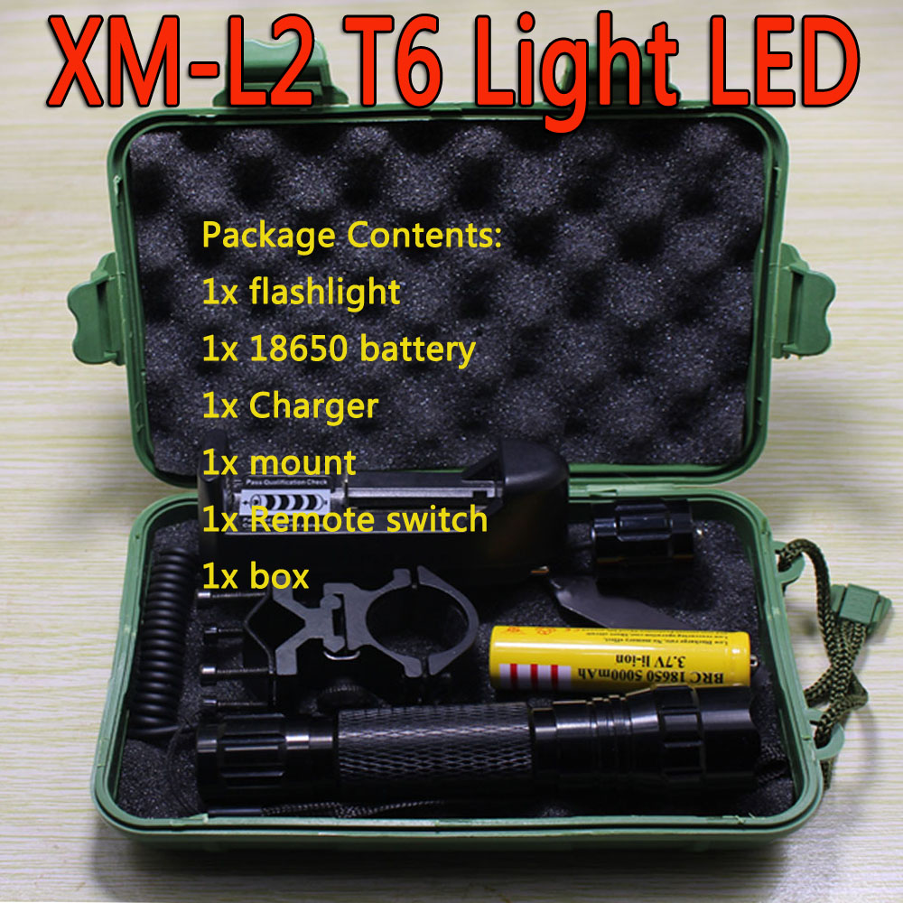Cree XM-L2 T6 Light LED CREE Tactical Flashlight 501B Torch Pressure Switch Mount Hunting Rifle Gun Light+18650 Battery+mount+bo led tactical flashlight 501b cree xm l2 t6 torch hunting rifle light led night light lighting 18650 battery charger box