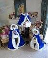 2017 Девушки Меха Болеро длина Пола Лонг Королевский Синий/White Satin Цветочница Свадьбы Мыс Плащ с меховой отделкой младший люкс болеро