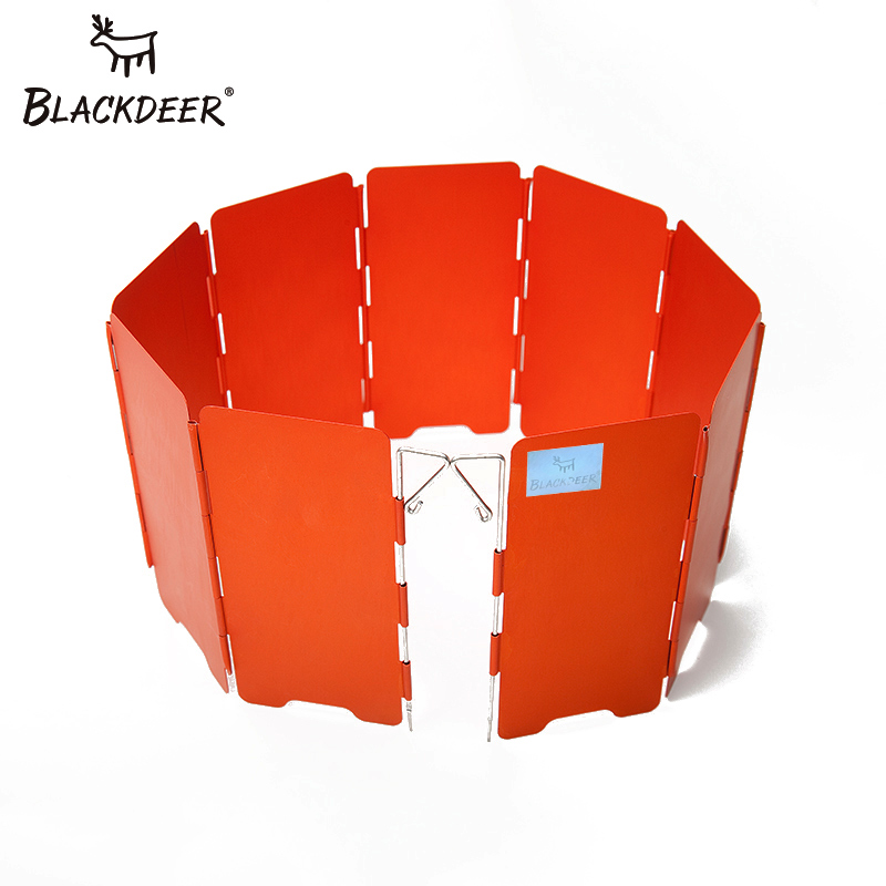 BLACKDEER Camping Gas Stove Wind Shield Foldable Anodized Aluminum Windproof Outdoor Folding Windshield 9-Plate With Storage bag