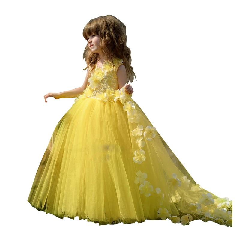 Little   Girls   Pageant   Dress   Long Kids Evening Ball Gowns Applique Toddler Lace Tulle   Flower     Girl     Dress   Yellow