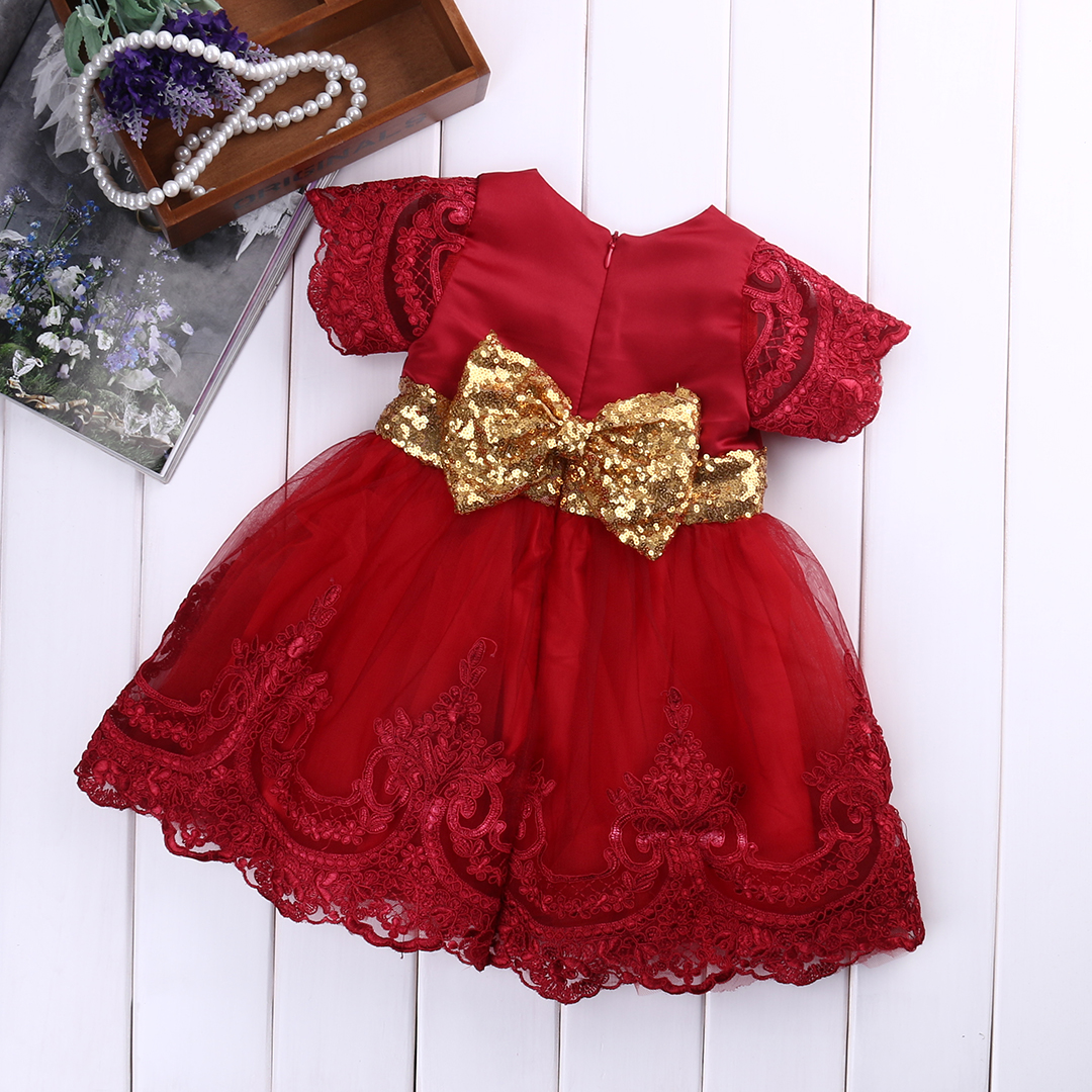 Autumn Girl Dress Floral Long Sleeve Princess Baby Girls Lace Dresses Christmas Toddler Wedding Bridesmaid