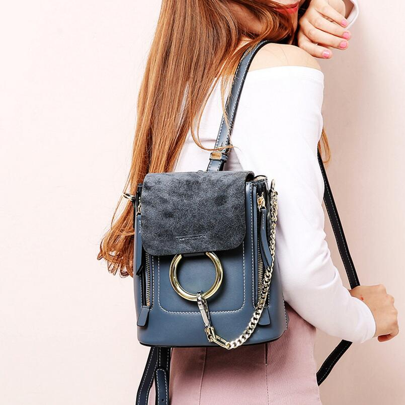 FoxTail & Lily Chain Metal Rings Design Women Backpack Genuine Leather Multifunction Vintage Mini Double Shoulder Bag for Girls