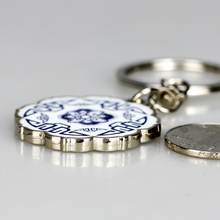 Tangfoo Ethnic Round Blue And White Porcelain Key Buckle Ceramic Jewelry Gift Holder Chain Keyring Littile Accoriesses