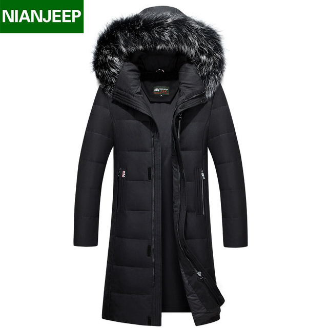 e8f7d3d666a Top Quality Winter Men s Long Design White Duck Down Jackets Mens Fashion Thick  Warm Big Fur Collar Hooded Parkas Outerwear 8898