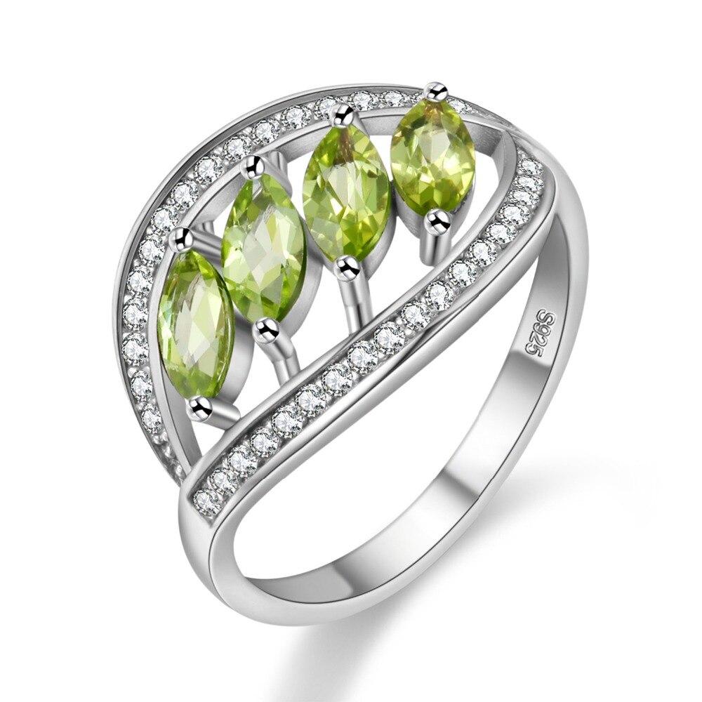 Almei Naturale Verde Peridot 925 Sterling Argento Foglie Anelli per Le Donne Anello con la Pietra Dei Monili di Cerimonia Nuziale Confezione regalo di Velluto FJ110