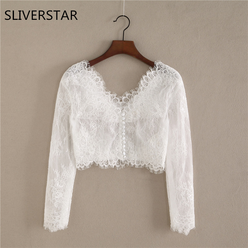 White Elegant Off the Shoulder Sleeves Lace Bolero Jacket Romantic Custom Bridal Wedding Jackets 2018 Women Wedding Jackets Wrap