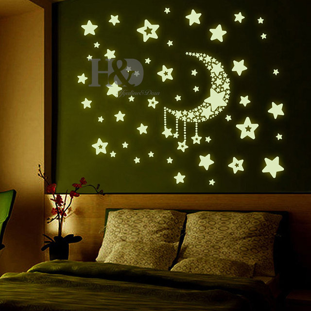Ds1500650 Diy Kid S Room Decoration Wall Decor Star And Moon Glow In The Dark Luminous