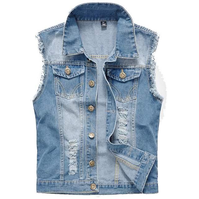 Online Shop Denim Vest Men Sleeveless Jackets Washed Jeans Colete