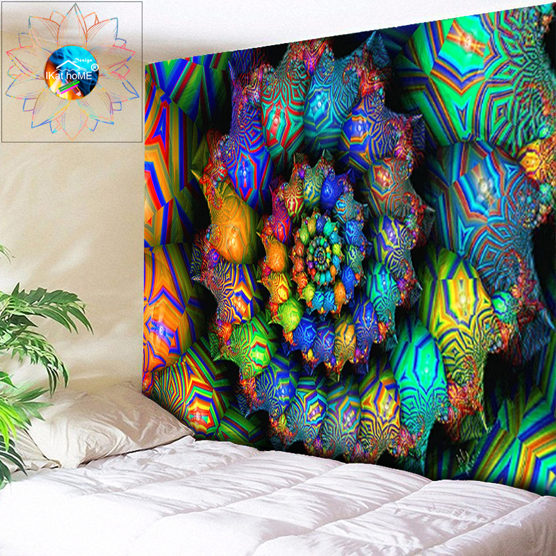 Boho Wall Decor Indian Mandala Tapestry Hippie Wall Hanging Wandkleed Mandala Psychedelic Tapestry Wall Fabric Beach Cloth Rug
