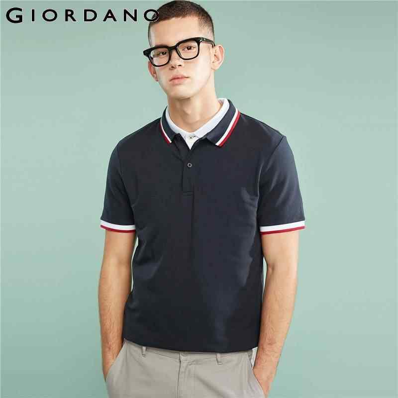 22c6b547a Giordano Men Slim Polo Pique Stretchy Polo Shirt Men Stripes Ribbed Collar Tops  Short Sleeve Tee