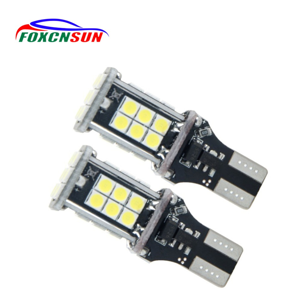 Foxcnsun 2PCS T15 LED Canbus OBC Error Free Bulbs LED Wedge Bulb Reverse Lights 921 912 W16W LED Dashboard Warn Car lamp White