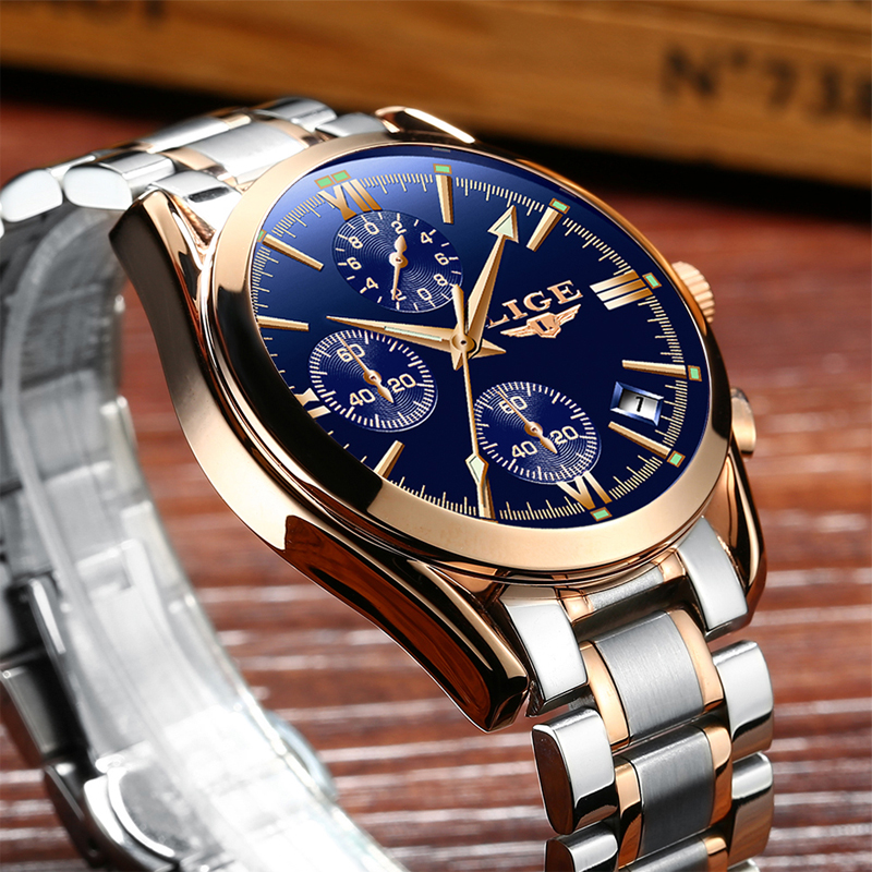 Watch Men Sport Quartz Fashion Leather Clock Mens Watches Top Brand LIGE Luxury Waterproof Business Watch Man Relogio Masculino chenxi men quartz wristwatches luxury brand man golden business fashion watch mens shell dial clock dress relogio masculino