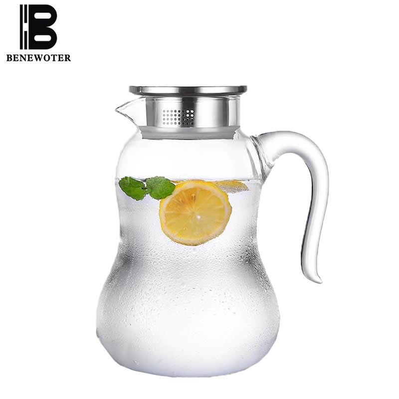 2000 ml accueil haute capacité bouteilles d'eau froide épaissir résistant à la chaleur bouilloire en verre citron Fruit jus fleur théière lait café cruche
