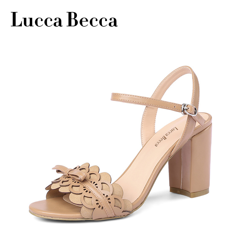 Lucca Sandals Shoes Woman Chaussures Femme High Heels Sandals Soft Leather Bowknot Peep Toe Sweet Shoes Sandalias Mujer 2018 New