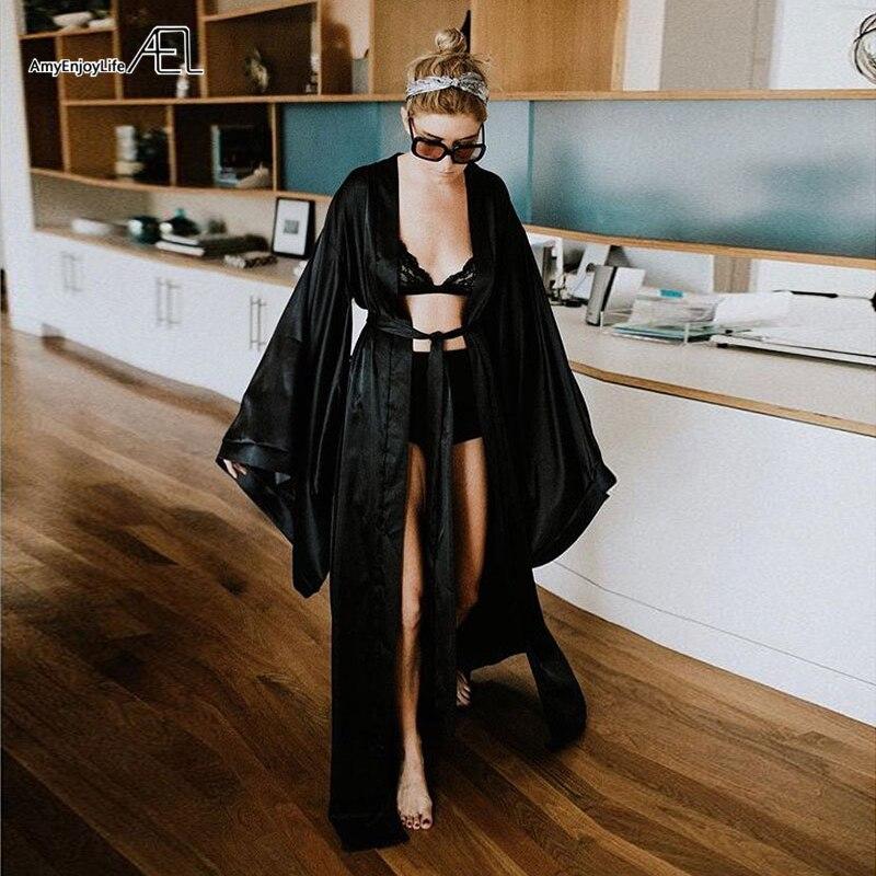 AEL Fashion Loose Soft Comfortable Night Robe Women Belt Bathrobe Women's Sleep Sexy Sleepwear Shift 2017 Select 3 Color
