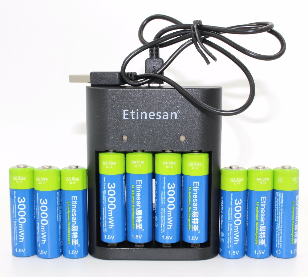 10 New Batteries For Halloween Christmas gift  Etinesan 3000mWh AA Li-polymer Rechargeable Battery+ AA AAA Charger Free shipping сварочный инвертор fubag in 196 68 432