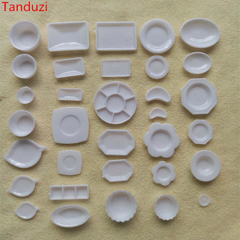 Tanduzi 33pcs Plastic Plates MIni Bowls And Dishes