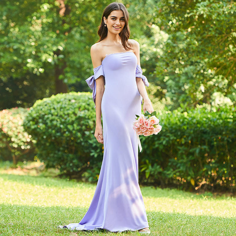 Tanpell strapless long   bridesmaid     dress   purple off the shoulder floor length mermaid gown women wedding party   bridesmaid     dresses