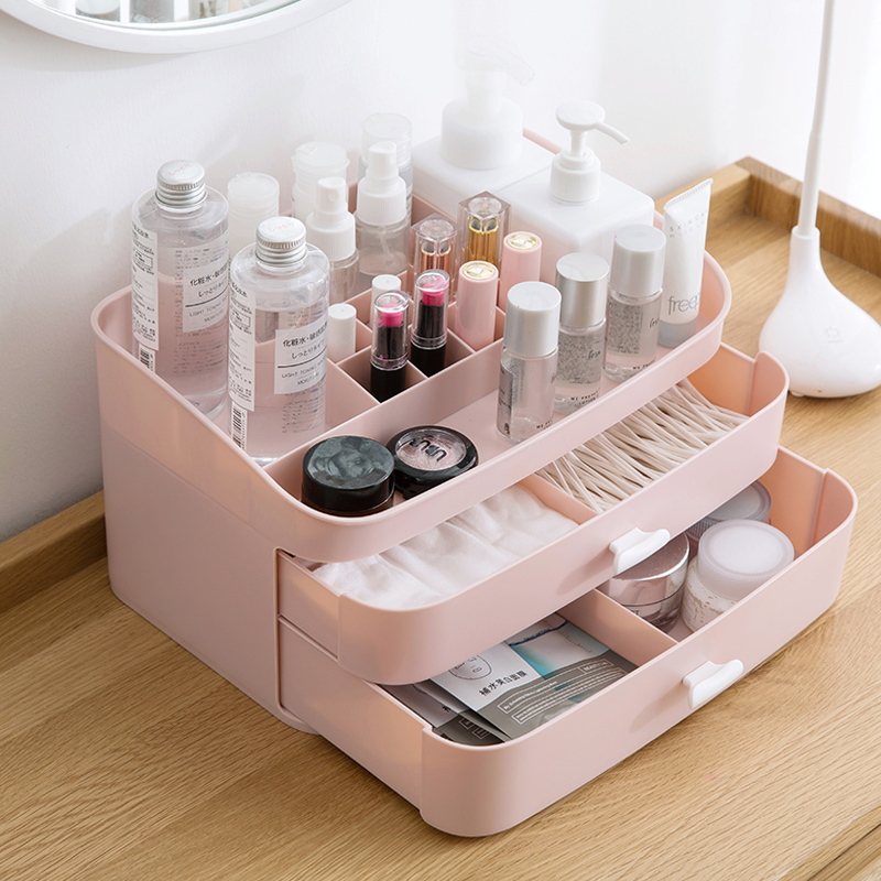Drawer Type Multi layer Cosmetic Desktop Skin Care Products Table Compartment Finishing Box Desk Storage Boxes Bins Cabinet