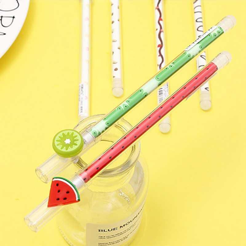 Сладкая клубника пончик стираемая гелевая ручка роллербол ручка школьная поставка студенческие канцелярские синие чернила 0,4 мм