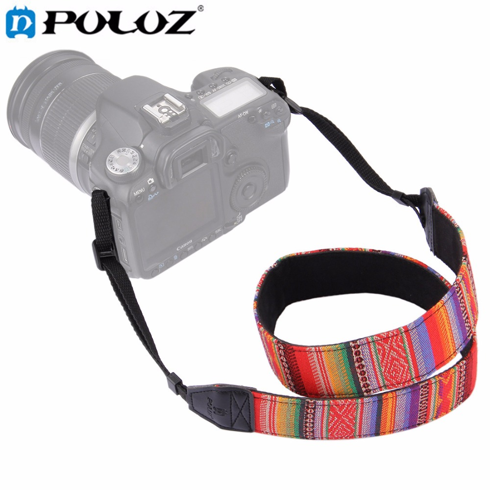 PULUZ Retro Style Double Cotton Yard Shoulder Neck Strap Camera Strap Camera Shoulder Bags Wristband for Canon SLR DSLR Cameras
