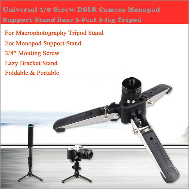 Universal 3/8 Screw Dslr Camera Monopod Support Stand Base 3-feet 3-leg Tripod For Iphone 8 7 6s Plus 5s Samsung S8 Air Vent Gps Mobile Phone Holders & Stands Mobile Phone Accessories