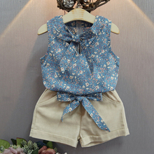 Baby Girl Summer Clothes Set Fashion Print Girls Suits Kids Sleeveless Tops Pants Children Bow Vest Shorts Clothing