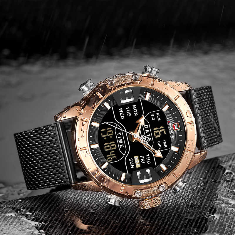 Reloj para hombre marca superior de lujo NAVIFORCE 9153 cronómetro LED deportivo militar resistente al agua reloj de pulsera reloj masculino