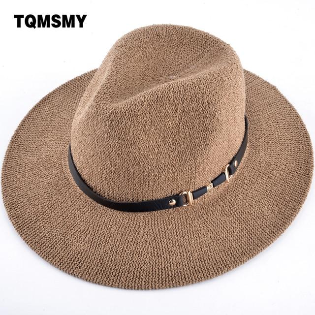 TQMSMY 2018 Woman Summer wide brim sun hat women men beach hat solid color  straw hats cab9decbd464