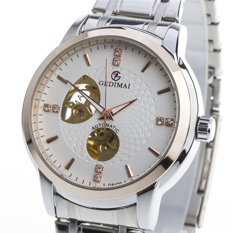 2017 Top Brand Luxury Hot Sale Automatic Mens Watch Skeleton Steel Gold Case White Dial Waterproof Man Mechanical Watches 2017 luxury men watch automatic mechanical watch multifunction binger famous brand watch gold case white dial full steel strap