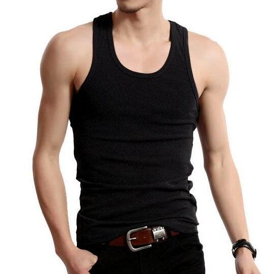 2019 Men's Gym clothing Casual Cotton O-neck   Tank     Top   Modal Vest White Black Singlet Sleeveless Men   Tank     Tops   Tee Shirt Home M